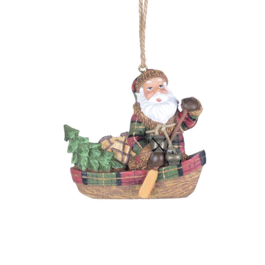 Santa in Canoe with Gifts Ornament