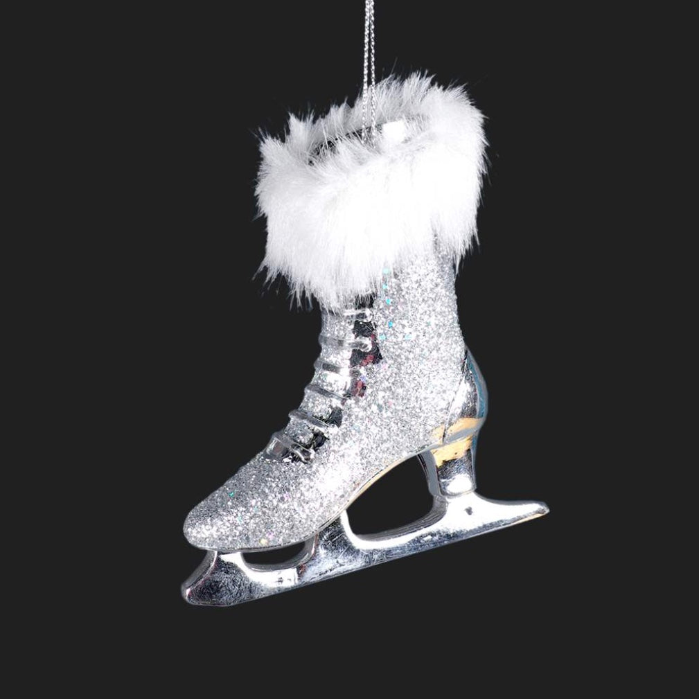 Silver Glitter Skate Ornament, CT-Christmas Tradition, Putti Fine Furnishings