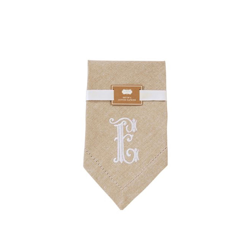 Monogrammed Napkin Set - Initial E, MP-Mud Pie, Putti Fine Furnishings