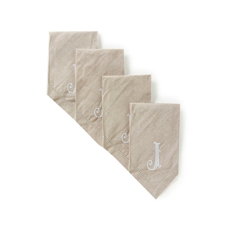 Monogrammed Napkin Set - Initial J, MP-Mud Pie, Putti Fine Furnishings