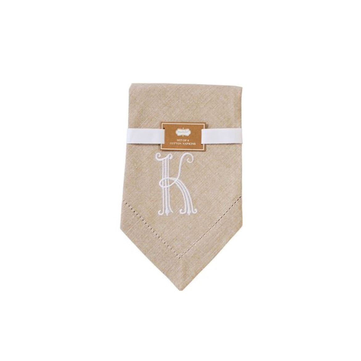 Monogrammed Napkin Set - Initial K, MP-Mud Pie, Putti Fine Furnishings