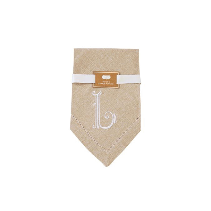 Monogrammed Napkin Set - Initial L, MP-Mud Pie, Putti Fine Furnishings