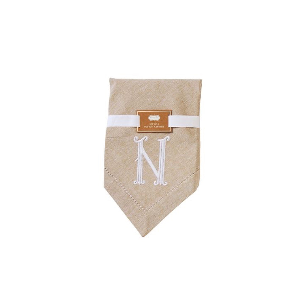 Monogrammed Napkin Set - Initial N, MP-Mud Pie, Putti Fine Furnishings