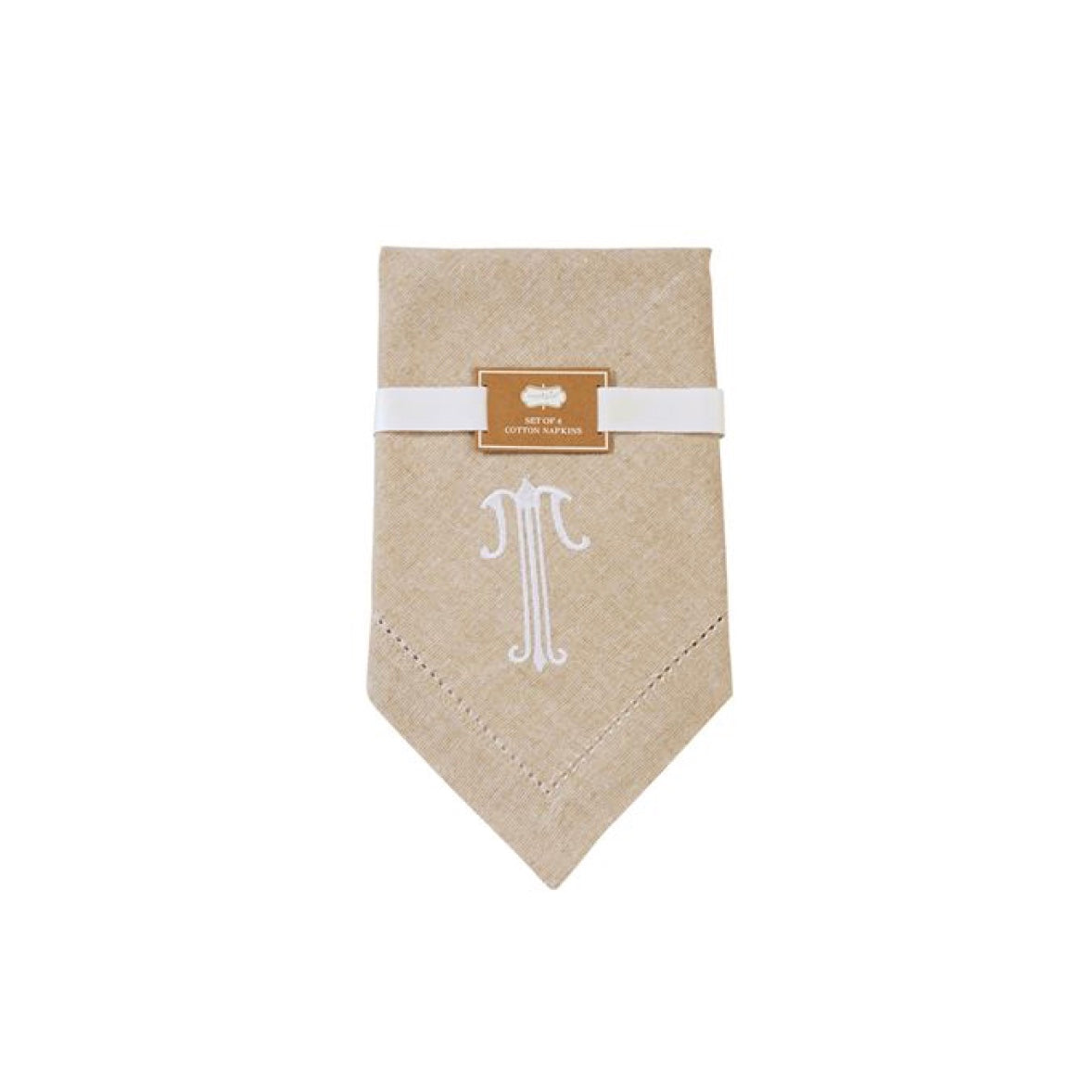 Monogrammed Napkin Set - Initial T, MP-Mud Pie, Putti Fine Furnishings
