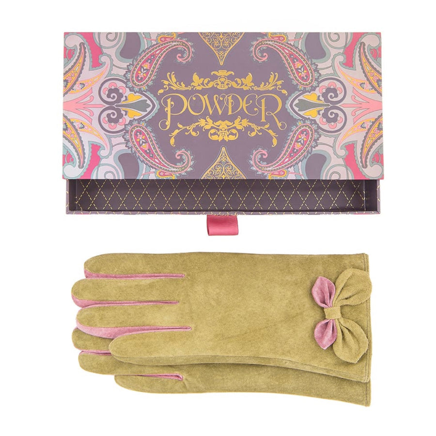 "Powder ""Antoinette"" Suede Gloves - Moss"