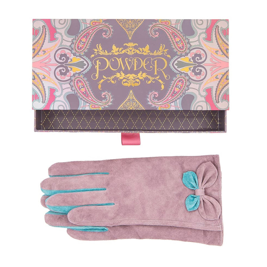 "Powder ""Antoinette"" Suede Gloves - Stone"