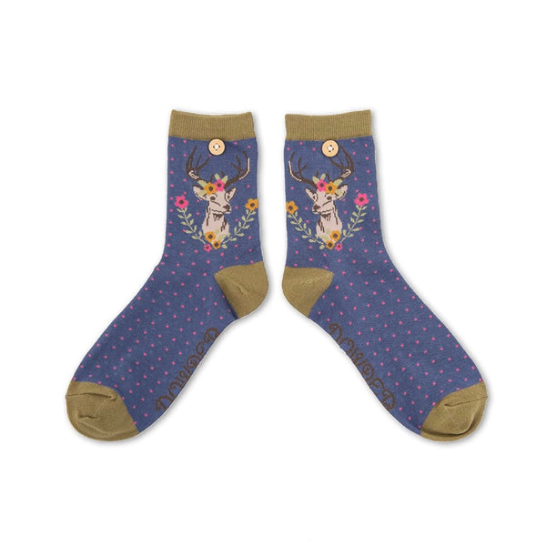 "Powder ""Stag"" Ankle Socks - Navy-Personal Accessories-PDL-Powder Design Limited-Putti Fine Furnishings"