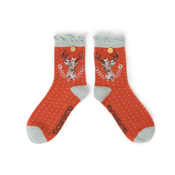 "Powder ""Stag"" Ankle Socks - Tangerine-Personal Accessories-PDL-Powder Design Limited-Putti Fine Furnishings"