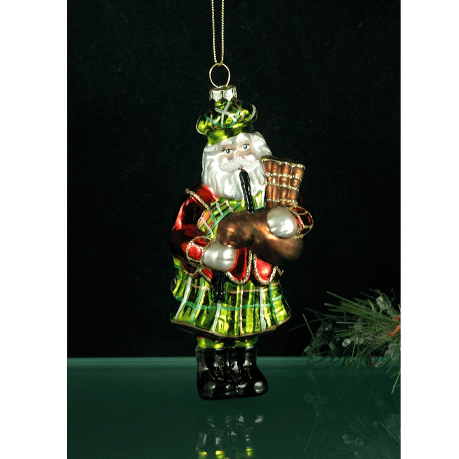 Scottish Santa Glass Ornament