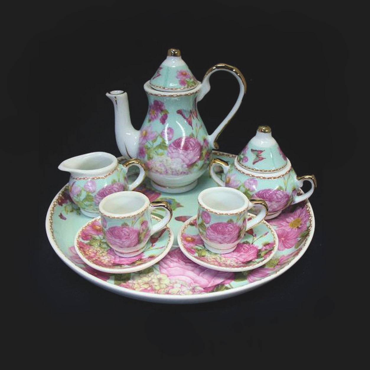 Butterflies and Roses Miniature Tea Set