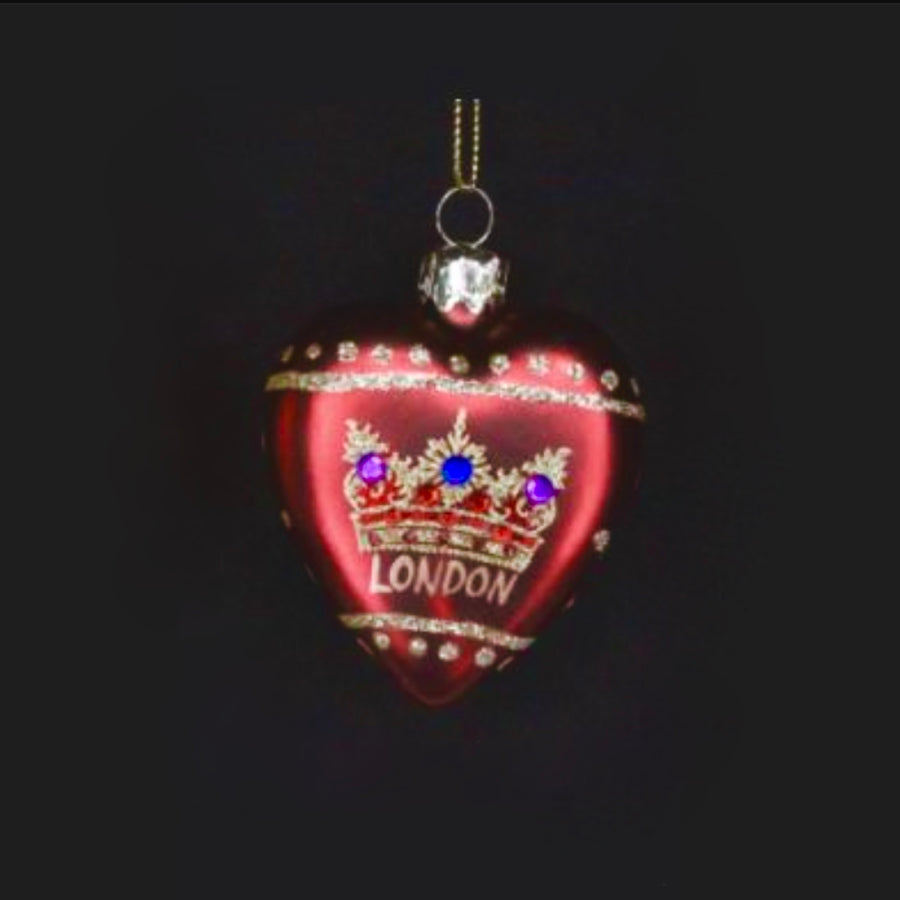 """London"" Glass Heart with Crown - Red"