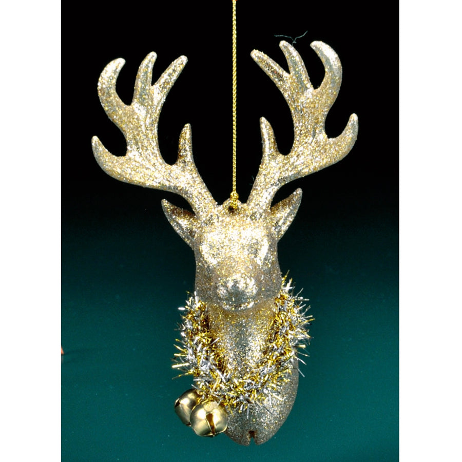 Gold Glitter Deer Head Ornament