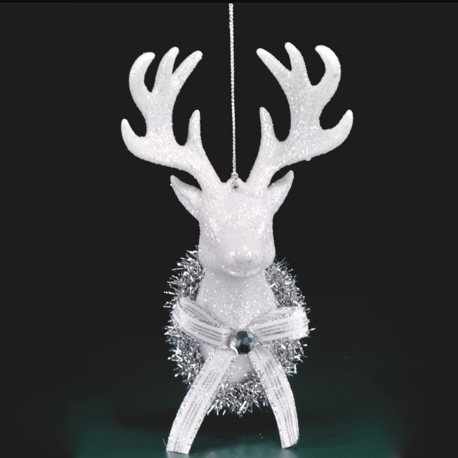 White Glitter Deer Head Ornament