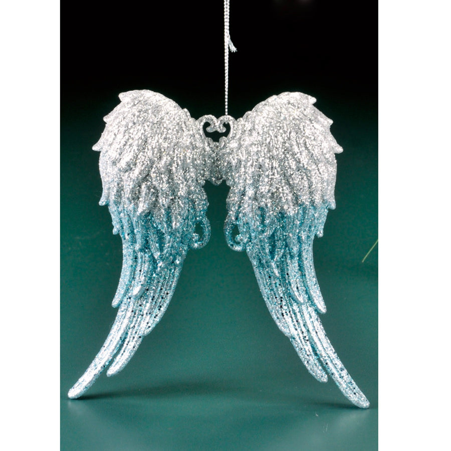 Ombre Angel Wings - Silver & Aqua Blue