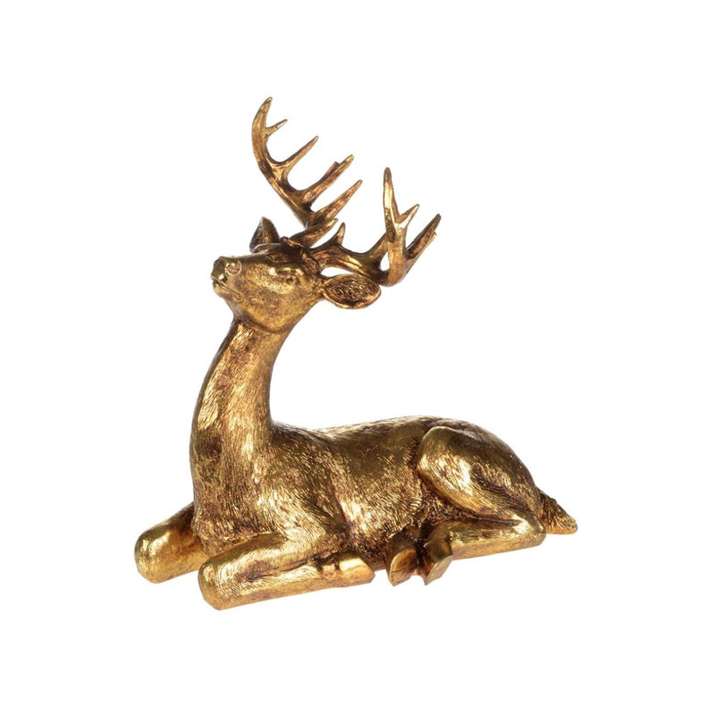 Gilded Sitting Deer, CT-Christmas Tradition, Putti Fine Furnishings