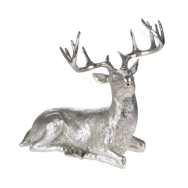 Silver Lying Deer, CT-Christmas Tradition, Putti Fine Furnishings