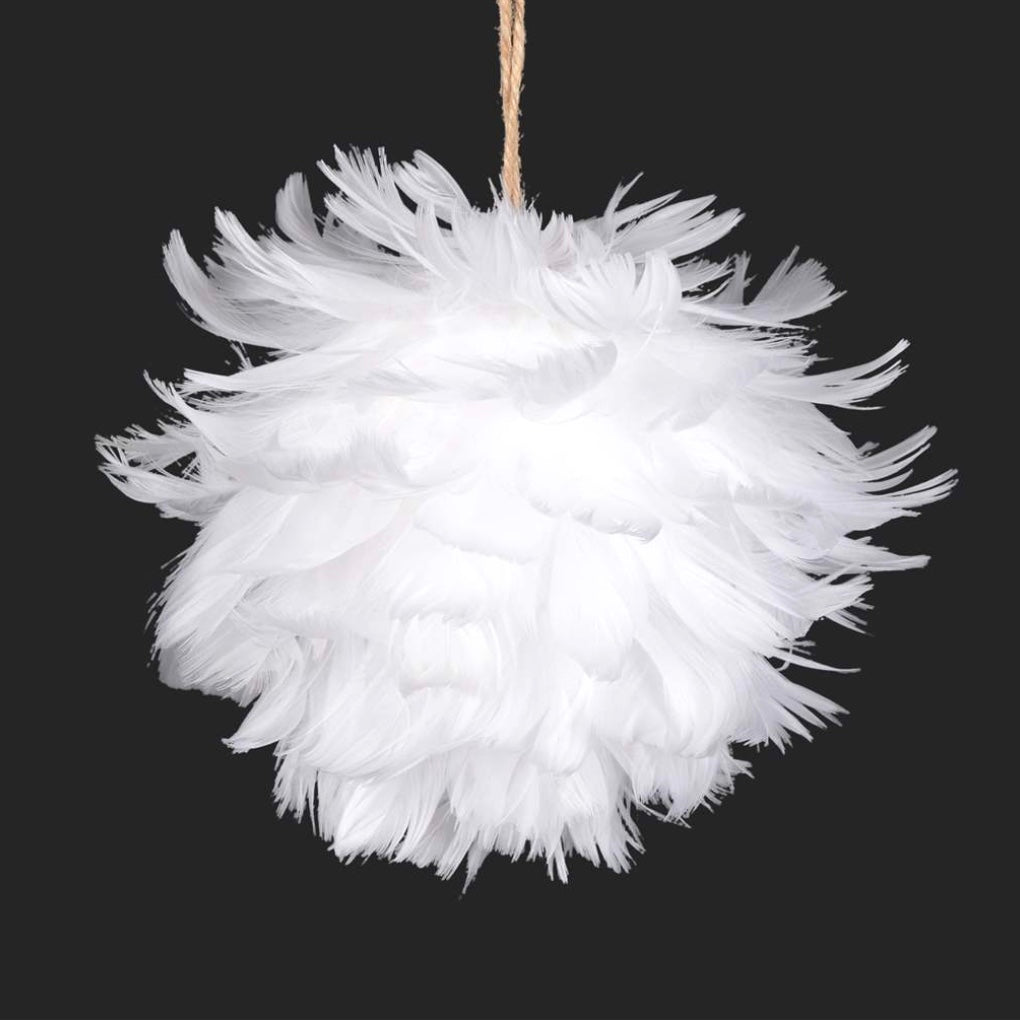 White Feather Pom Pom Ornament, CT-Christmas Tradition, Putti Fine Furnishings