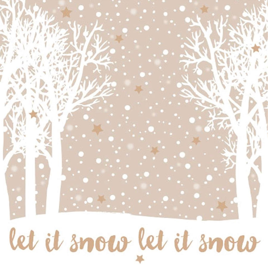 """Let it Snow"" Lunch Napkin - Taupe, EG-Elegant Gifts, Putti Fine Furnishings"
