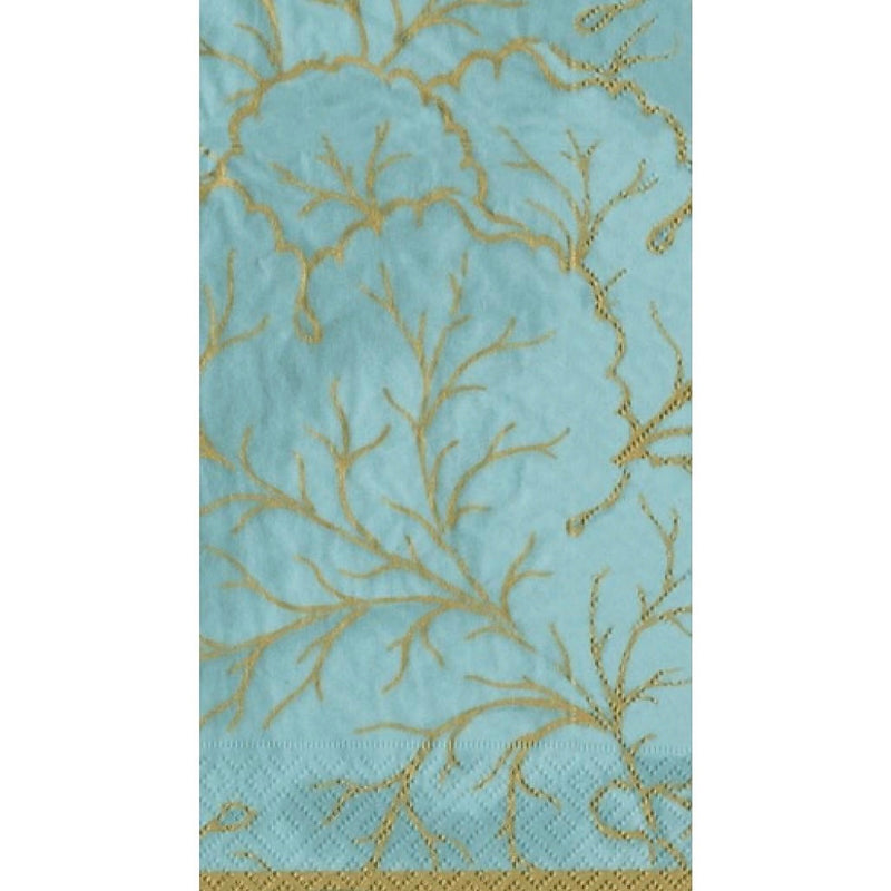 """Gilded Majolica"" Aqua Paper Napkin - Guest, CI-Caspari, Putti Fine Furnishings"
