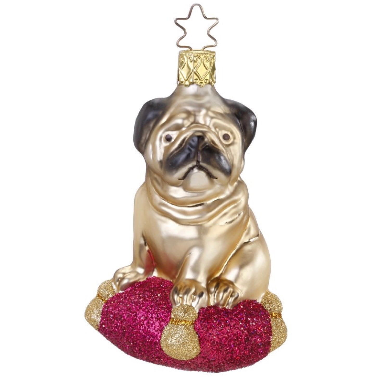 "Inge Glas ""Pugsie"" Glass Pug Ornament 