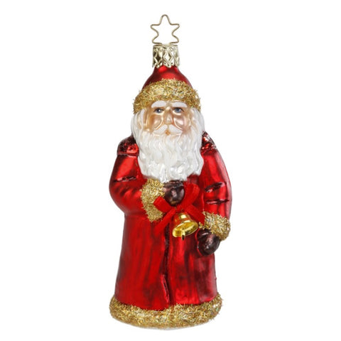 "Inge Glass ""Christmas Chime"" Santa Ornament"