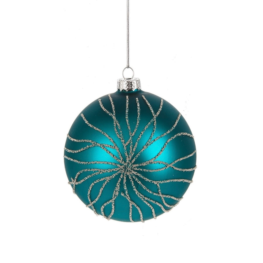 Turquoise Glittered Coral Ball, MW-Midwest / CBK, Putti Fine Furnishings