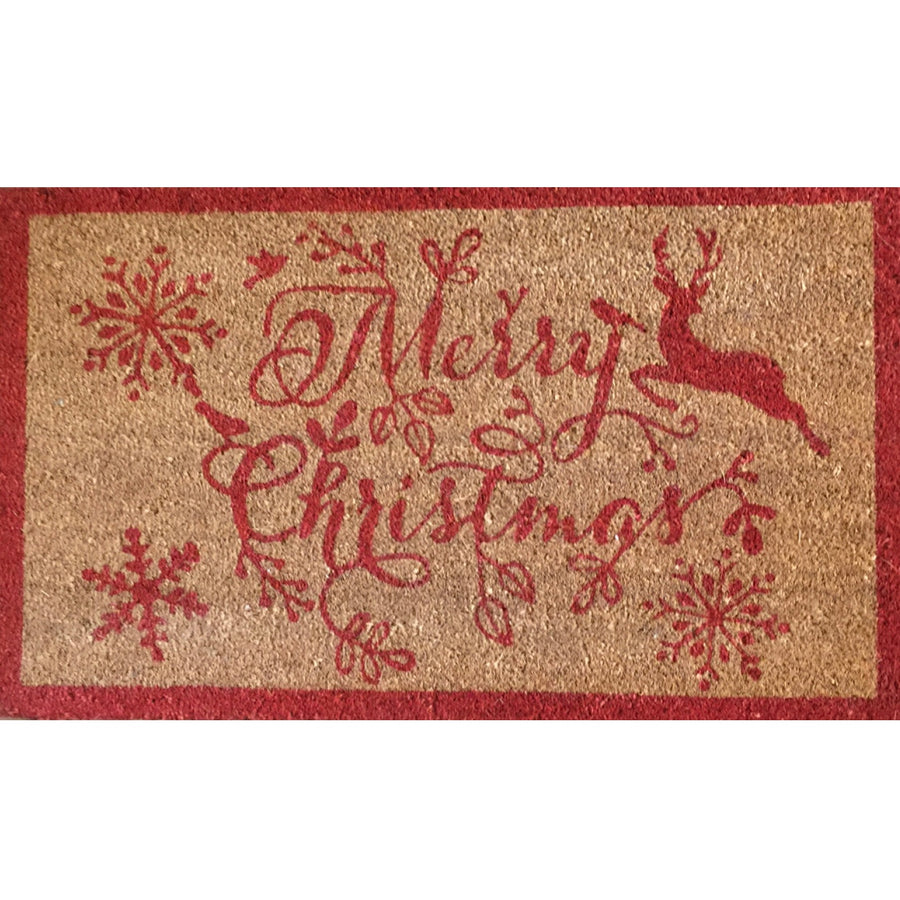 """Merry Christmas"" Reindeer Red Printed Coir Doormat"