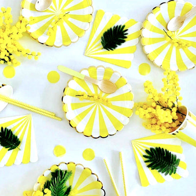 "Meri Meri ""Toot Sweet"" Yellow and White Striped - Large Paper Plates"