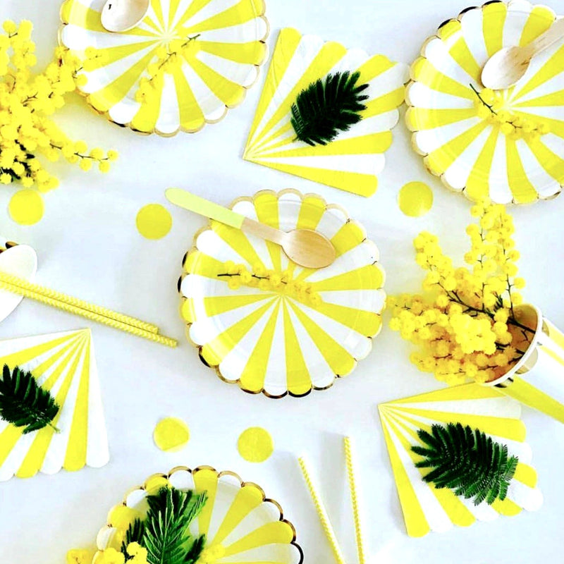 """Toot Sweet"" Yellow and White Striped - Large Paper Plates -  Party Supplies - Meri Meri UK - Putti Fine Furnishings Toronto Canada - 1"