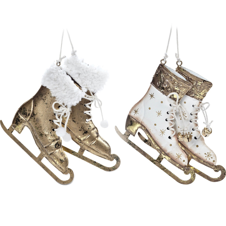 Pair of Gold and White Skates Ornament - Putti Christmas Canada