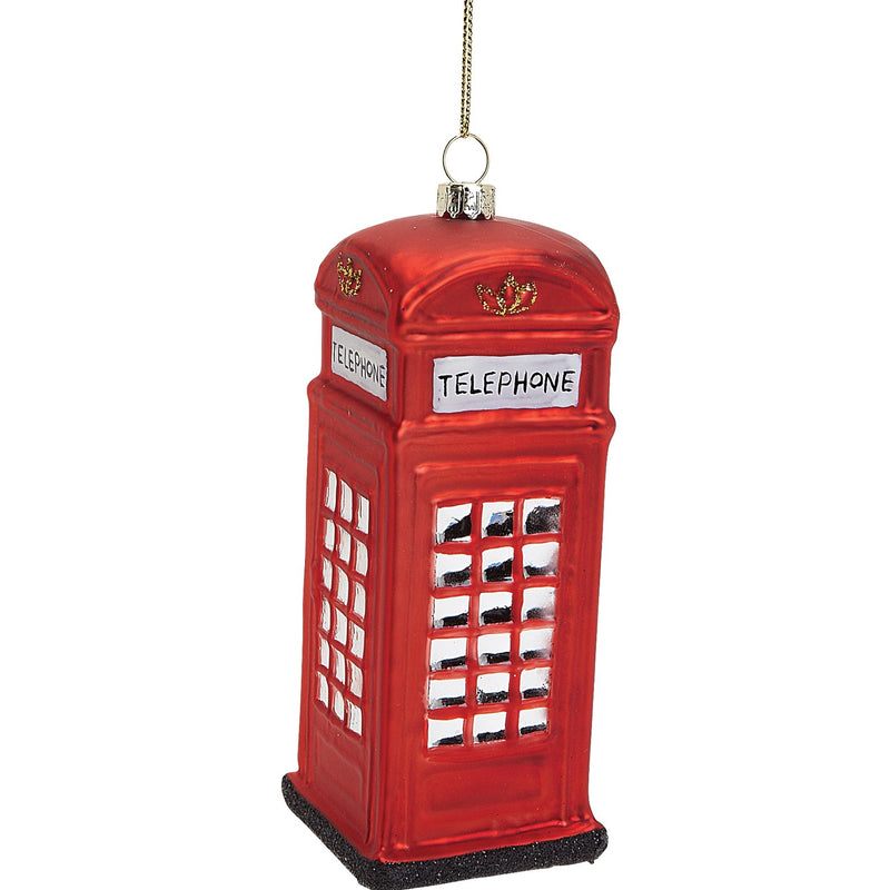 British Telephone Booth Glass Ornament - Large
