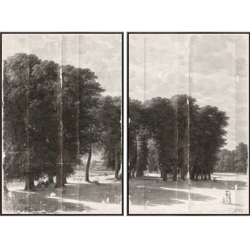 Grissaille Landscape Framed Canvas Diptych