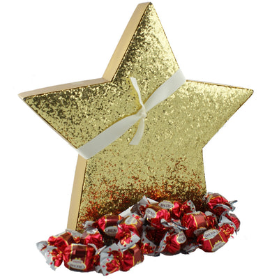 """Sparkle"" Gold Star Chocolate Caramel Truffles - Putti Christmas Canada"