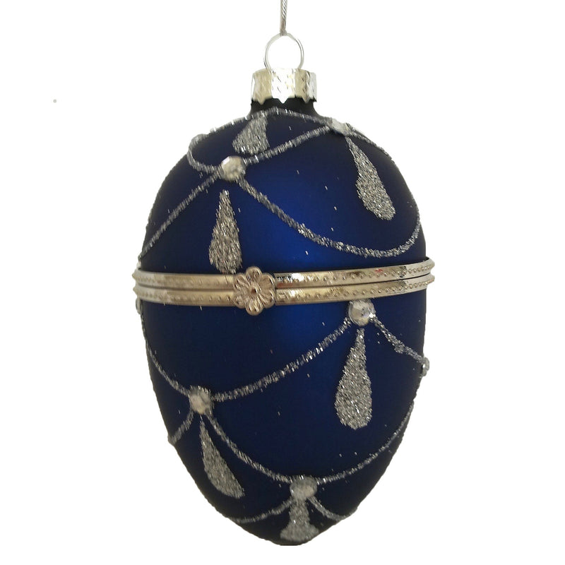 Royal Blue with Silver Glass Egg Ornament Box |  Putti Christmas