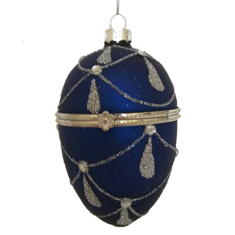 Royal Blue with Silver Glitter Glass Egg Ornament Box