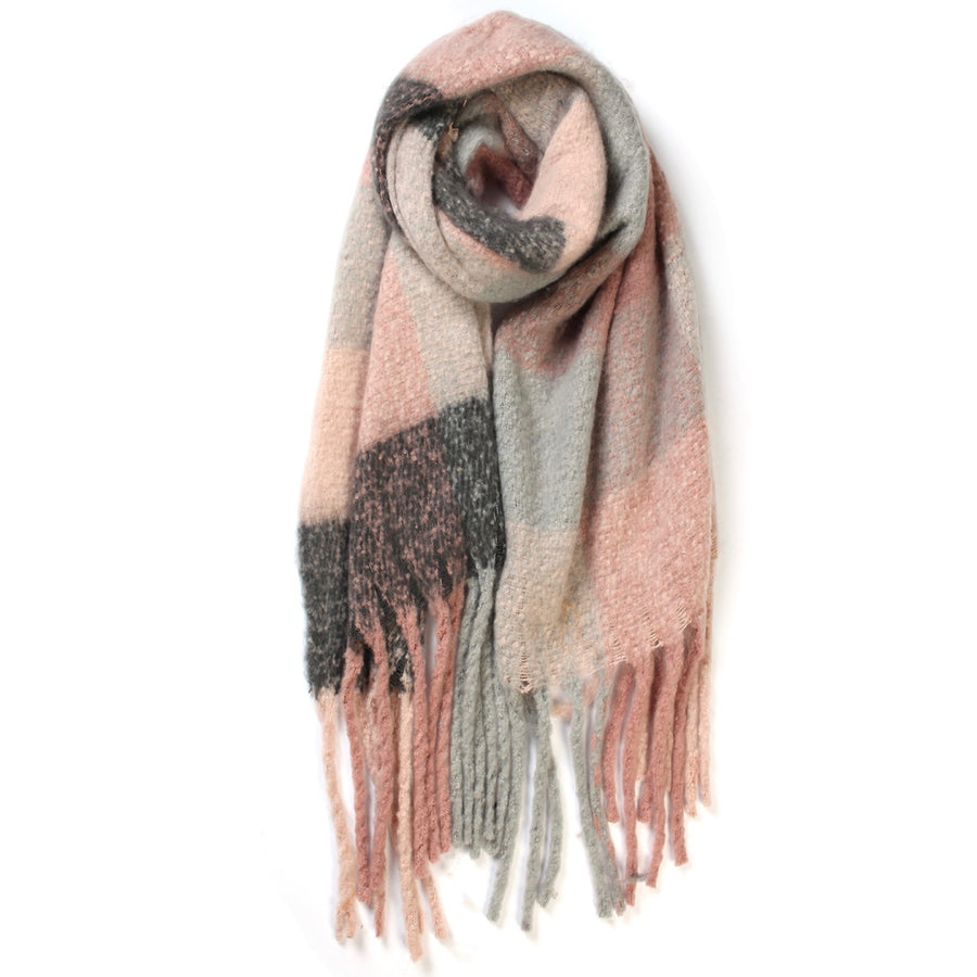 Scotch Style Big Checked Winter Scarf with Tassels - Pink