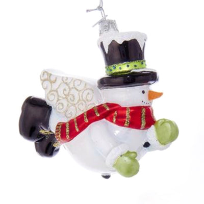 Kurt Adler Glass Snowman Angel Ornament