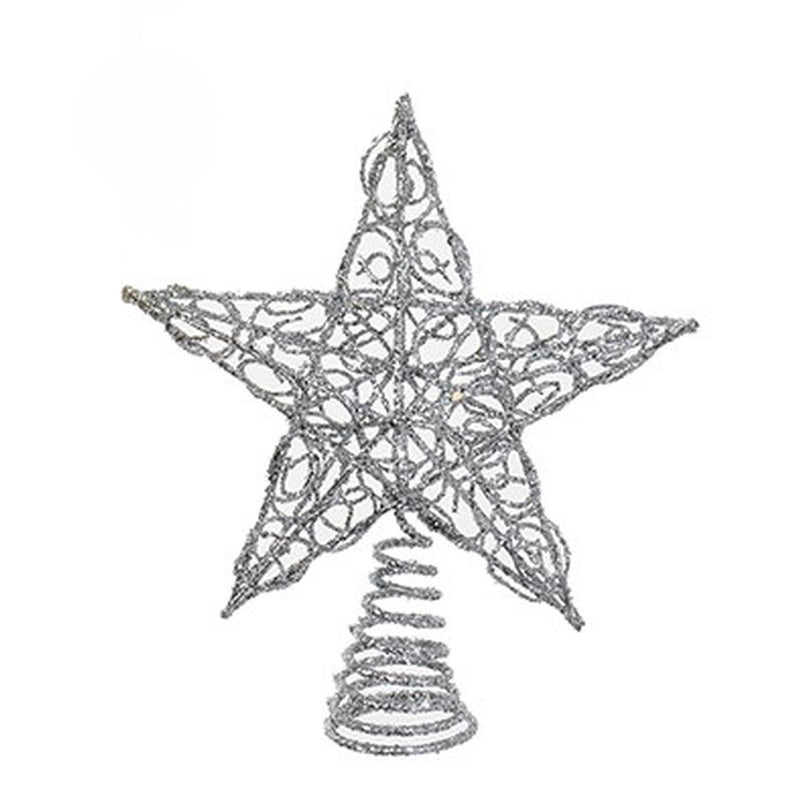 Silver Glittered Metal Wire Star Christmas Tree Topper