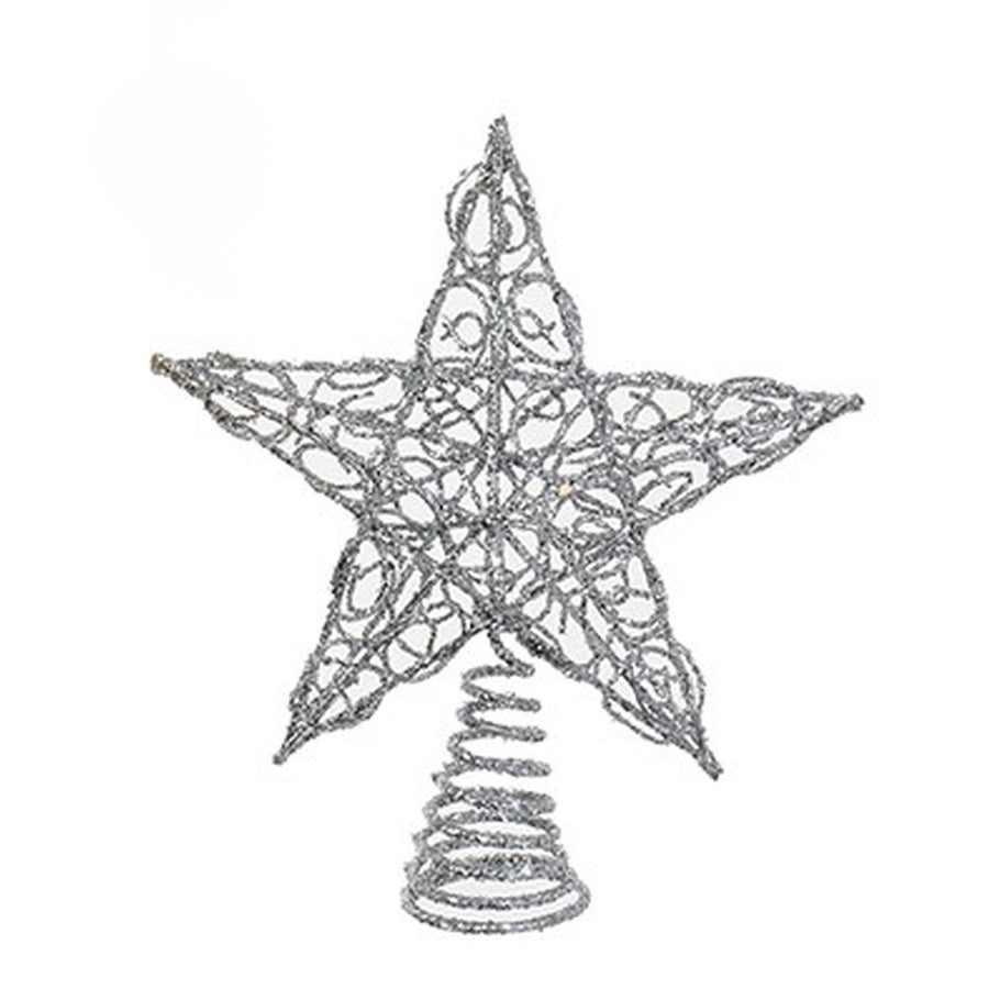 Silver Glittered Metal Wire Star Tree Topper