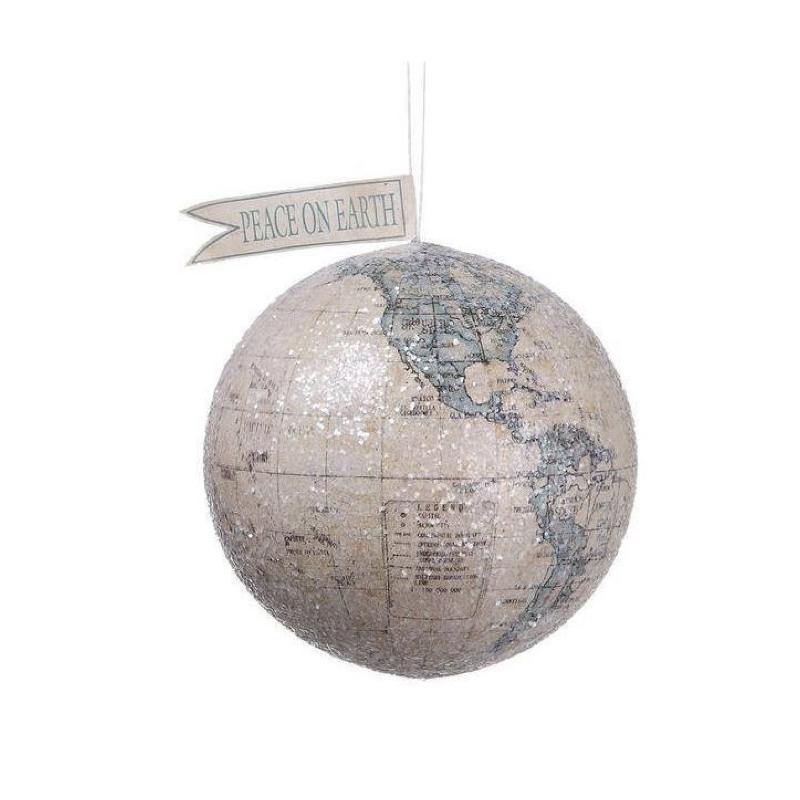 """Peace on Earth"" Globe Hanging Christmas Ornament"