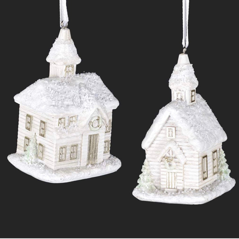 White Frosted Church Ornament