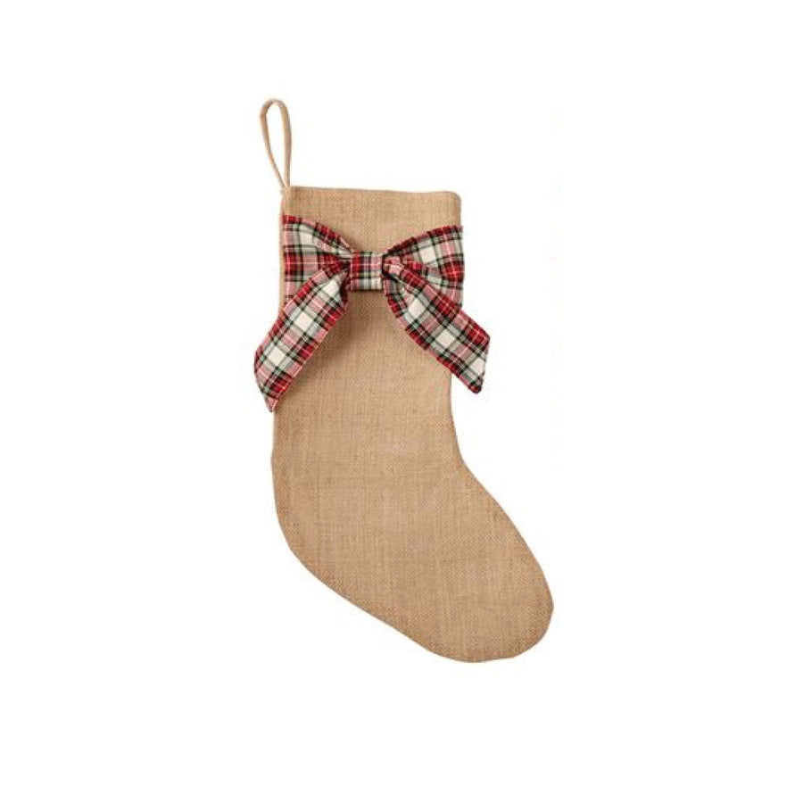 Burlap with Tartan Bow Stockings