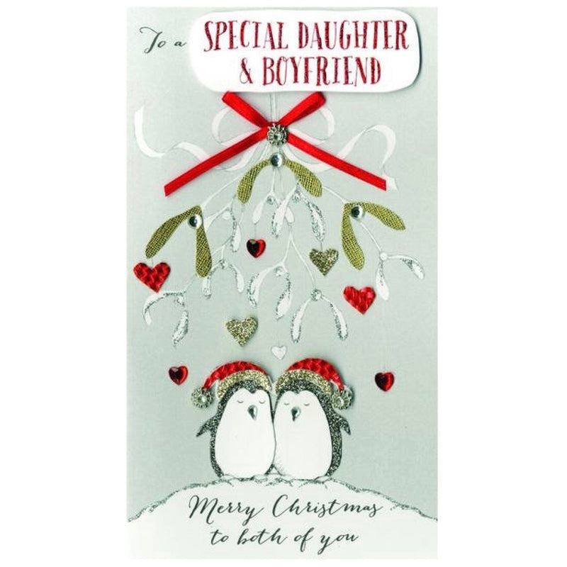 """To a special Daughter and Boyfriend"" Christmas Card"