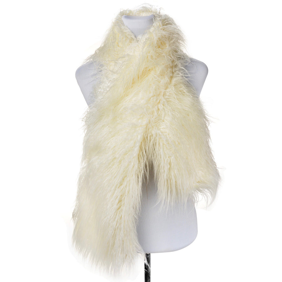 Mongolian Fur Scarf - Cream