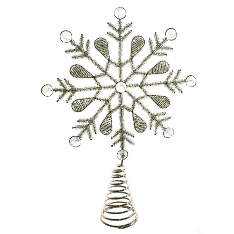 Beaded Silver Metal Snowflake Christmas Tree topper | Putti Christmas Toronto Canada