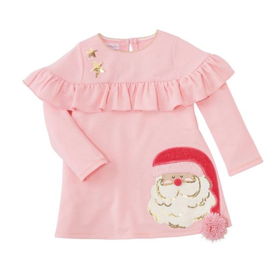 Mud Pie Pink Santa Ruffle Dress