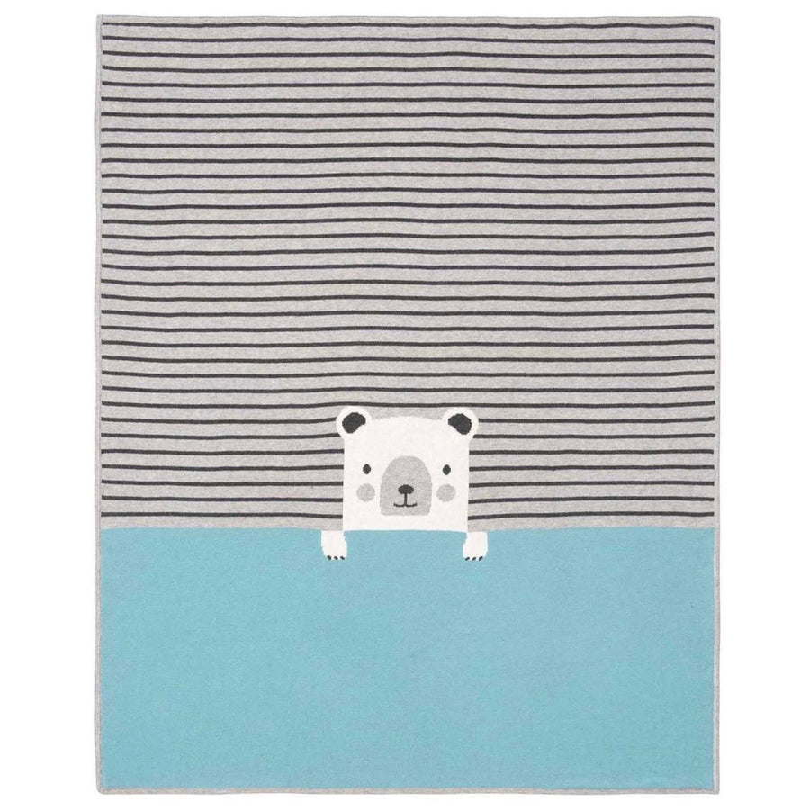 Elegant Baby Blue Grey Striped Bear Blanket