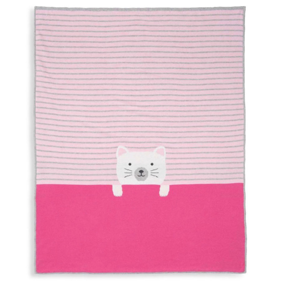 Elegant Baby Pink Grey Striped Kitty Blanket