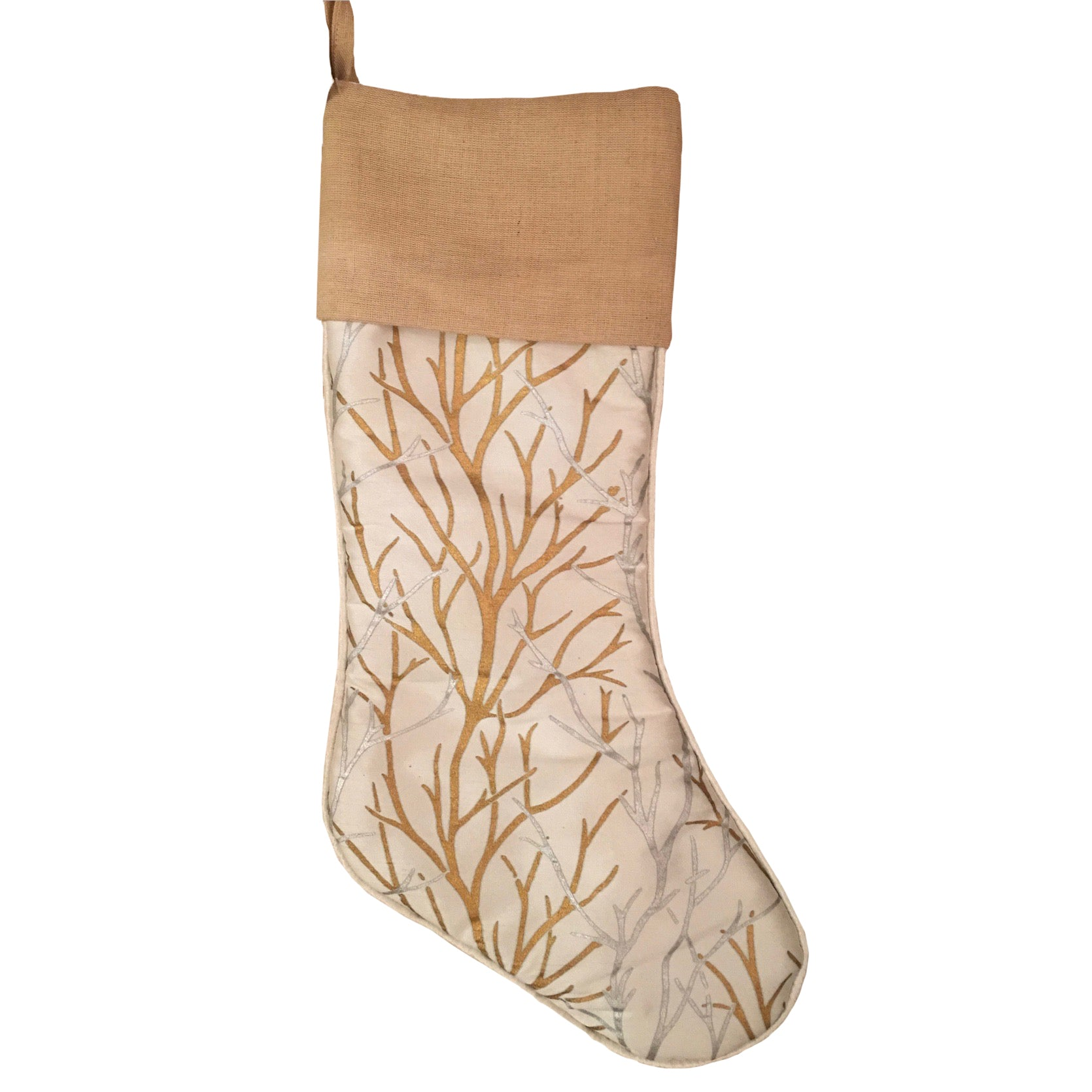 Gold and Silver Branch Stocking | Putti Christmas