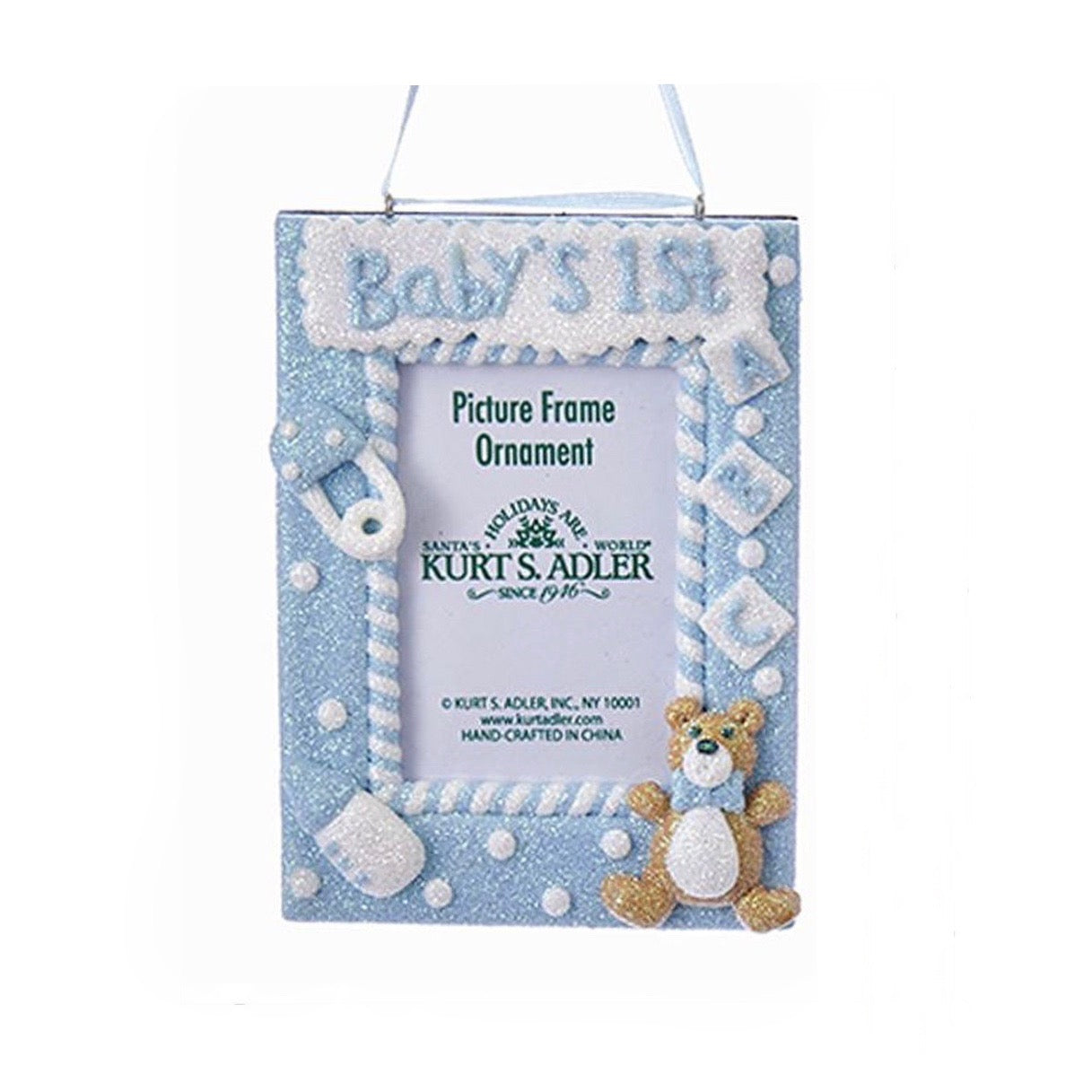 "Kurt Adler ""Baby's 1st"" Photo Frame Ornament - Blue"